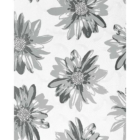 Papel pintado retro EDEM 058-26 de verano con diseño de flores y patrón floral en gris blanco