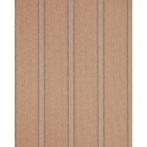 Papel pintado romántico con diseño a rayas EDEM 174-36 patrón de franjas en marrón claro cacao plata