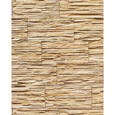 Papel pintado súperlavable con relieve aspecto piedra EDEM 1003-31 natural tipo mampuesto beige arena marrón claro