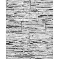 Papel pintado súperlavable con relieve aspecto piedra EDEM 1003-32 natural tipo mampuesto gris blanco