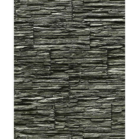 Papel pintado súperlavable con relieve aspecto piedra EDEM 1003-34 natural tipo mampuesto negro gris