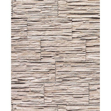 Papel pintado súperlavable con relieve aspecto piedra EDEM 1003-36 natural tipo mampuesto blanco crema gris