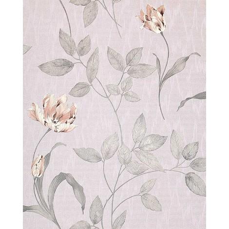 Papel pintado texturado diseño floral EDEM 769-37 con aspecto textil morado pastel rosa pálido lila glitter