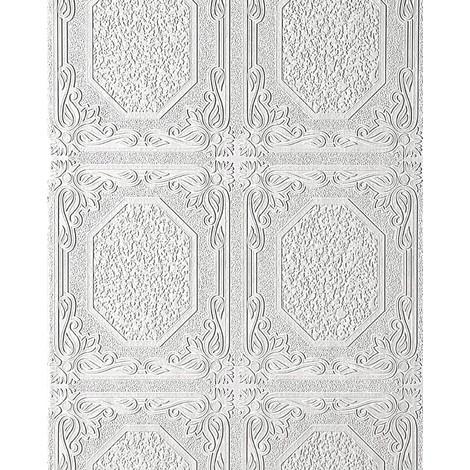 Papel pintado vinílico EDEM 101-00 para techos y paredes con textura decorativa de paneles en blanco