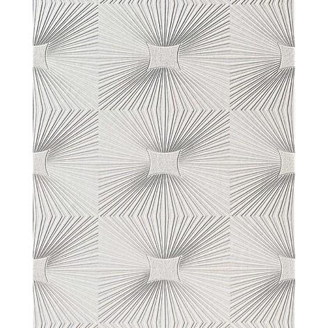Papel pintado vinílico EDEM 115-00 para techos y paredes con textura decorativa de paneles en blanco