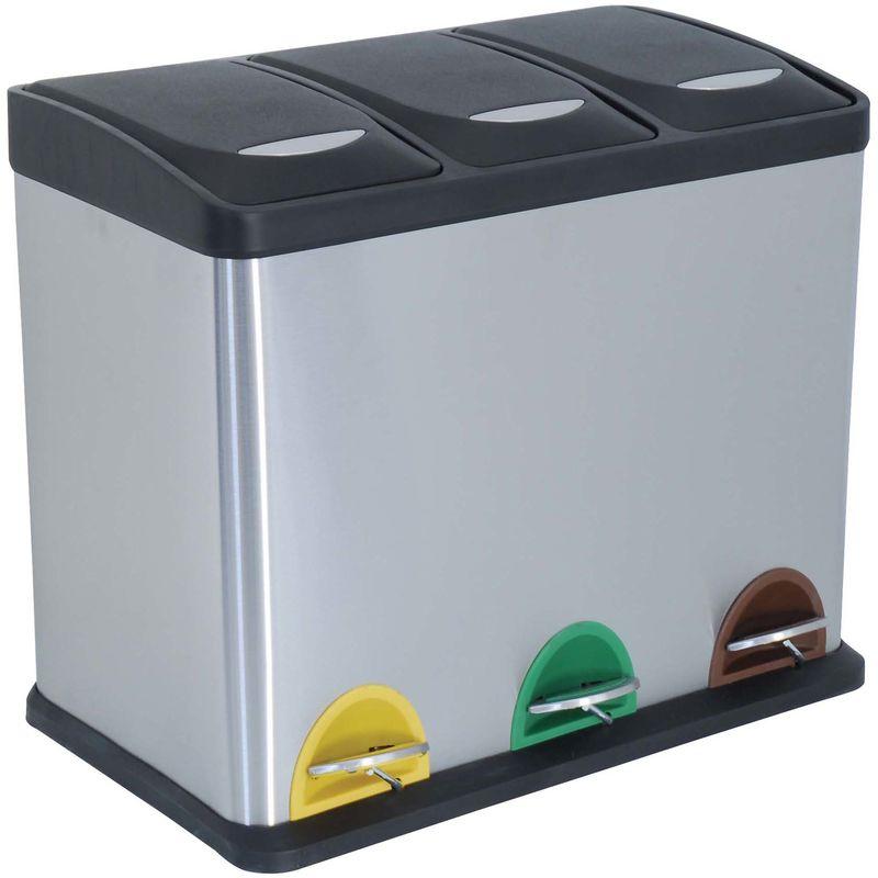 Cubo de basura 24 litros ecologico con 3 compartimentos, cromado, en acero inoxidable 46 x 26,5 x 39,5 cm. - MSV