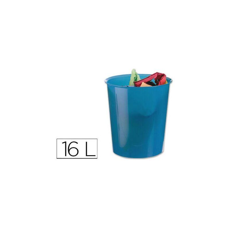 Papelera plastico azul translucido 16 litros - Q-connect