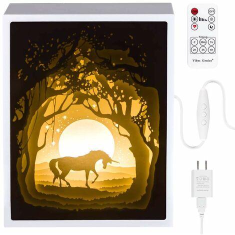 "main image of ""Papercut Light boxes, 3D Shadow Box Led light night lamp, Decorative Mood Light for Kids and Adults, Baby Nursery Kids Bedroom Living Room Night Light(Unicorn)"""