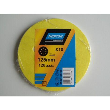 Papier à poncer disques abrasifs 125 grain 120 NORTON - 63642584344 - -