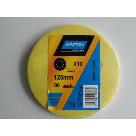 Papier à poncer disques abrasifs 125 lot: x10 neufs grain 80 NORTON - 66261095555 - -