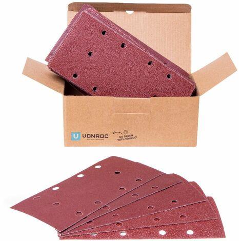 Papier abrasif 92x187mm - Fixation adhésive et universelle - 50 pcs incluses