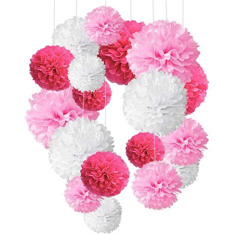 Papier de Soie Pompons, Boule de Fleur en Papier pour fête d'anniversaire de Mariage Baby Shower de Mariage de Douche Décorations de Festival, Lot de 18 - Rose, Foncé Rose et Blanc