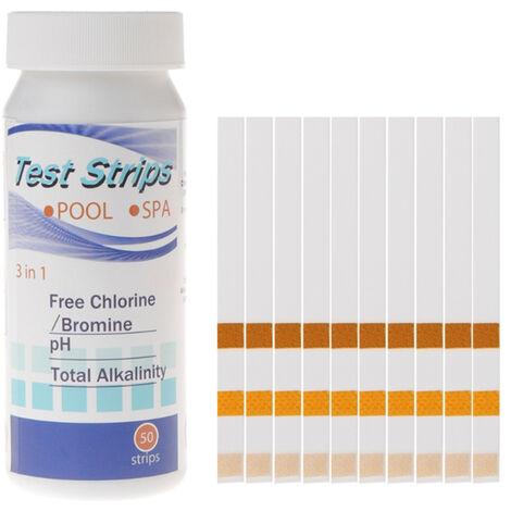 Papier de test multifonctionnel 3 en 1 pour piscine chlore residuel valeur pH alcalinite bandelette de test de durete 50 bandelettes dans une bouteille