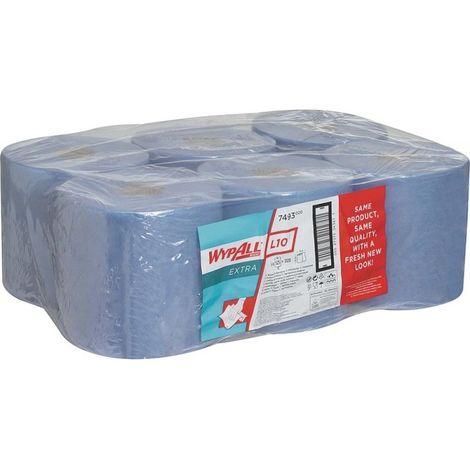 Papier essuie tout 185x38cm bleu 525 feuilles (Par 6)