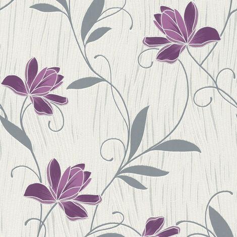 Rouleaux De Papier Peint 3 52 1qm Nappes Papier Peint Rapidement Fleurs Floral Gris Violet Indian Summer 707267 Munilimatambo Gob Pe