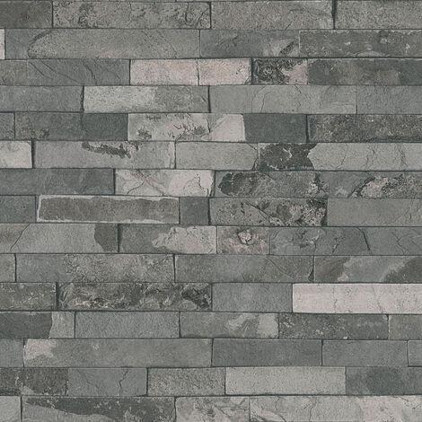 Papier peint 355824 A.S. Création Best of Wood`n Stone 2nd Edition | Papier peint Beige / crème Gris Anthracite en ligne