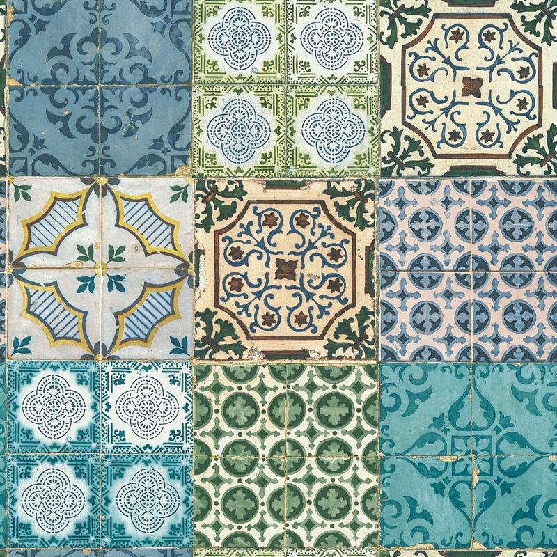 5,62 €//1qm Nappes Papier Peint Carreau Abstrait Bleu Vert metalliques Casual 30437