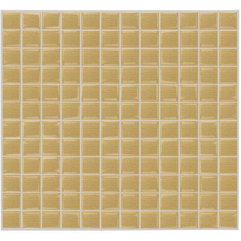 Papier peint 3D marbre auto-adhesif Papier peint decoratif Petite brique carree Stickers muraux epoxy Stickers carrelage cuisine et salle de bain Impermeable et resistant aux taches, gris et blanc