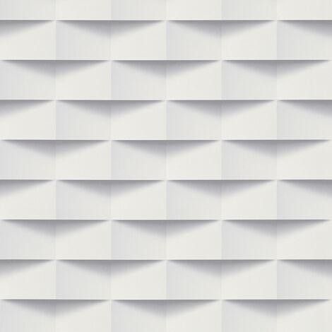 Papier peint 3D | Papier peint Lutèce blanc | Papier peint moderne salon, bureau & chambre effet 3D 302481 - 10,05 x 0,53 m