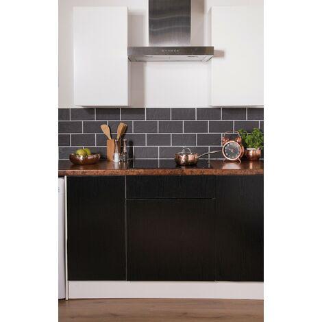 Papier peint adhésif décoratif pour meuble Charred noir 200 x 67,5 cm charbon