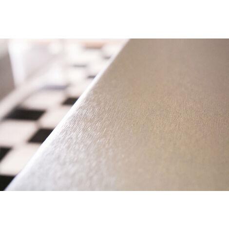 Papier peint adhésif décoratif pour meuble effet métallique Alu Silver argent aluminium 150 x 45 cm uni