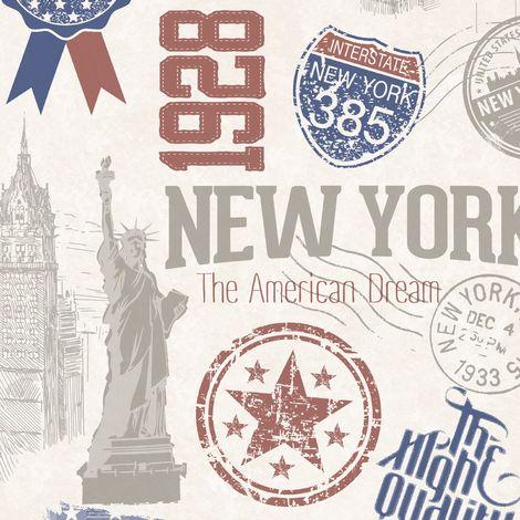 Papier peint adhésif décoratif pour meuble New-York multicolore 200 x 67,5 cm USA