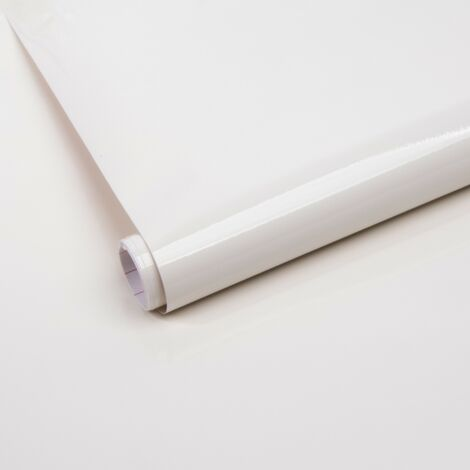 Papier peint adhésif décoratif pour meuble Ral blanc 200 x 45 cm uni