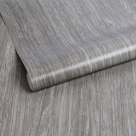 Papier peint adhésif décoratif pour meuble Wood gris 200 x 45 cm bois