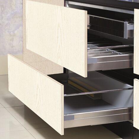 Papier peint adhésif décoratif pour meuble Wood White blanc 200 x 67,5 cm bois