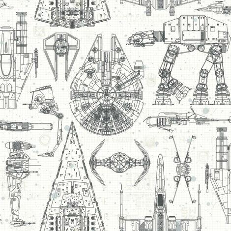 Papier peint adhésif Star Wars Blueprint - 52,07 cm x 5.03 m