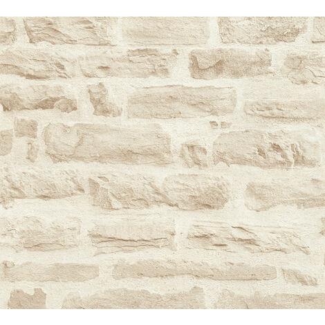 Papier peint aspect pierre carrelage Profhome 355803-GU papier peint intissé lisse à l'aspect de pierre mat beige vert-oxyde-chromique 5,33 m2