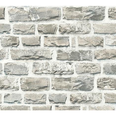 Papier peint aspect pierre carrelage Profhome 361402-GU papier peint intissé lisse avec un dessin nature mat beige gris bronze 5,33 m2