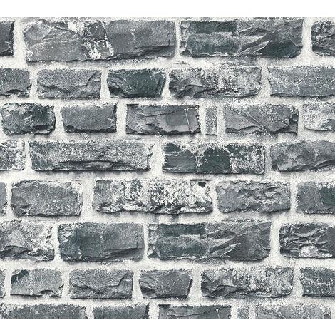 Papier peint aspect pierre carrelage Profhome 361404-GU papier peint intissé lisse avec un dessin nature mat gris noir 5,33 m2