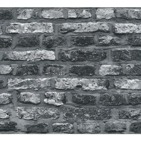 Papier peint aspect pierre carrelage Profhome 362812-GU papier peint intissé lisse avec un dessin nature mat gris noir 5,33 m2