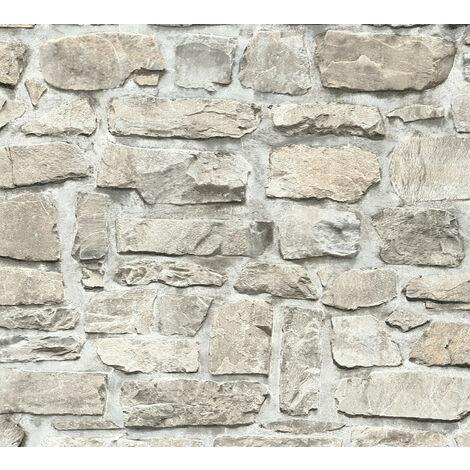 Papier peint aspect pierre carrelage Profhome 363702-GU papier peint intissé lisse avec un dessin nature mat gris beige 5,33 m2