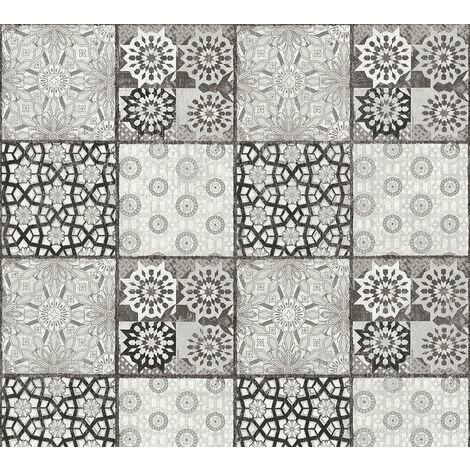 Papier peint aspect pierre carrelage Profhome 368954-GU papier peint intissé lisse avec un dessin carrelage mat gris noir blanc 5,33 m2
