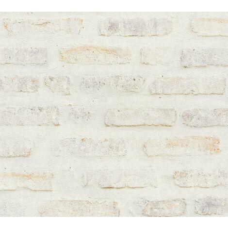 Papier peint aspect pierre carrelage Profhome 374221-GU papier peint intissé lisse avec un dessin nature mat blanc gris rouge 5,33 m2
