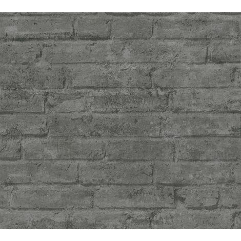 Papier peint aspect pierre carrelage Profhome 377476-GU papier peint intissé lisse avec un dessin nature mat gris anthracite 5,33 m2