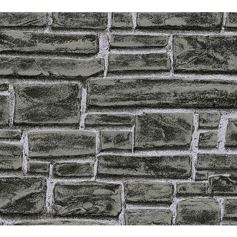 Papier peint aspect pierre carrelage Profhome 662330-GU papier peint intissé lisse avec un dessin nature mat noir gris 5,33 m2