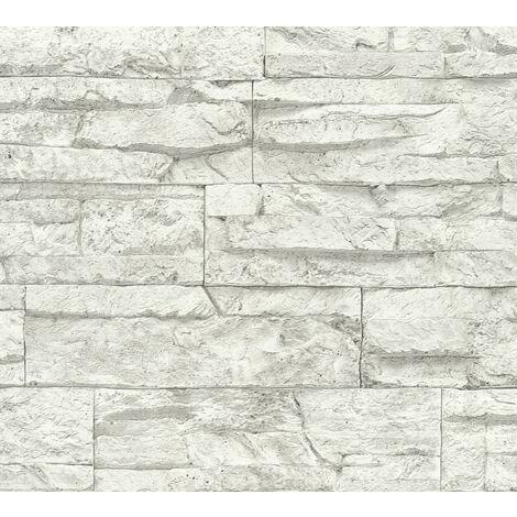 Papier peint aspect pierre carrelage Profhome 707161-GU papier peint intissé légèrement texturé avec un dessin nature mat blanc gris 5,33 m2