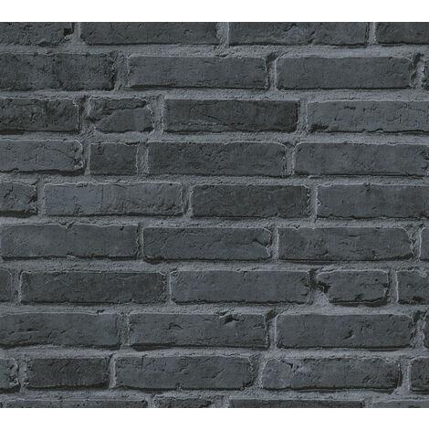 Papier peint aspect pierre carrelage Profhome 942833-GU papier peint intissé lisse avec un dessin nature mat noir gris 5,33 m2