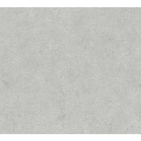 Papier peint aspect pierre carrelage Profhome 952592-GU papier peint intissé légèrement texturé unicolor mat gris 5,33 m2