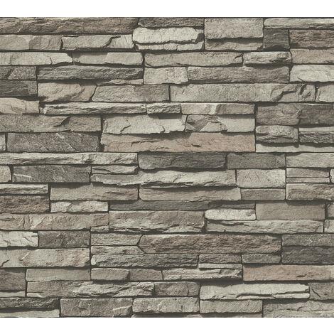 Papier peint aspect pierre carrelage Profhome 958331-GU papier peint intissé lisse avec un dessin nature mat gris vert-oxyde-chromique noir 5,33 m2