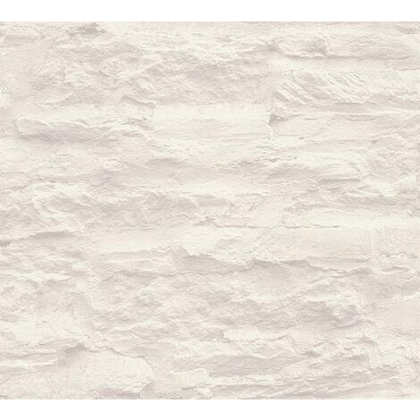 Papier peint aspect pierre carrelage Profhome 959083-GU papier peint intissé lisse avec un dessin nature mat crème blanc 5,33 m2