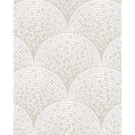Papier peint aspect pierre carrelage Profhome BA220041-DI papier peint intissé gaufré à chaud gaufré avec un dessin carrelage subtilement chatoyant blanc blanc-crème 5,33 m2