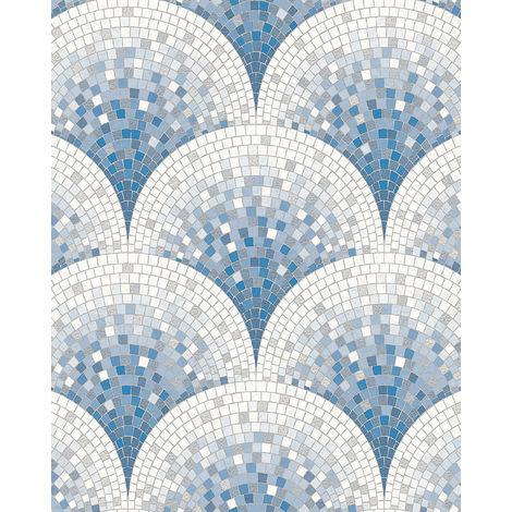 Papier peint aspect pierre carrelage Profhome BA220046-DI papier peint intissé gaufré à chaud gaufré avec un dessin carrelage brillant bleu blanc bleu pigeon 5,33 m2