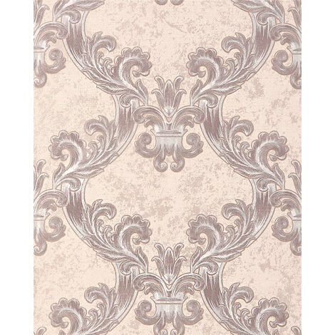 Papier peint baroque EDEM 1026-13 papier peint vinyle texturé avec des ornements et des accents métalliques crème beige argent 5,33 m2
