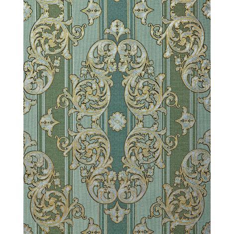 Papier peint baroque EDEM 580-35 texturé aspect textile métalliques vert vert-pin or nacré argent 5,33 m2