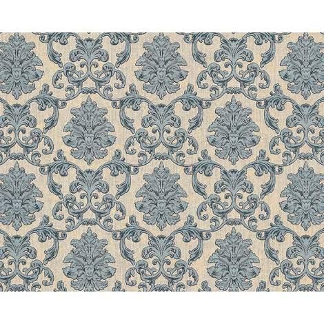 Papier peint baroque EDEM 6001-90 Papier peint intissé gaufré avec des ornements scintillant beige vert-bleu gris 10,65 m2