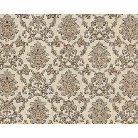Papier peint baroque EDEM 6001-91 Papier peint intissé gaufré avec des ornements scintillant crème beige or 10,65 m2
